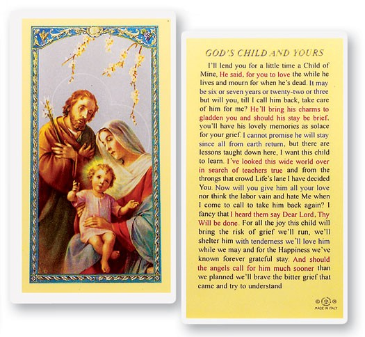 God's Child And Yours Laminated Prayer Cards 25 Pack - Full Color