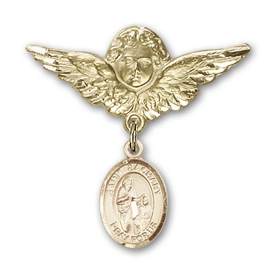 Pin Badge with St. Zachary Charm and Angel with Larger Wings Badge Pin - 14K Solid Gold