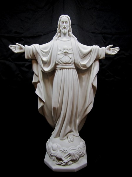 Sacred Heart Statue White Marble Composite - 24 inch - White