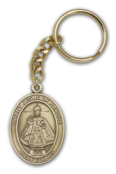 Infant of Prague Keychain - Antique Gold
