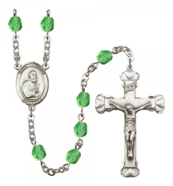 Women's St. Peter the Apostle Birthstone Rosary - Peridot