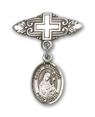 Pin Badge with St. Gertrude of Nivelles Charm and Badge Pin with Cross - Silver tone