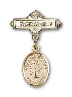 Baby Badge with Our Lady of Mercy Charm and Godchild Badge Pin - Gold Tone