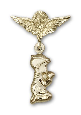 Baby Pin with Praying Boy Charm and Angel with Smaller Wings Badge Pin - 14K Solid Gold