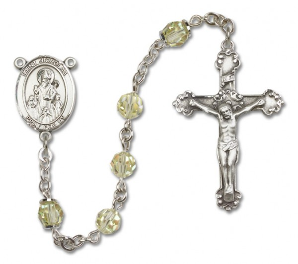 St. Nicholas Sterling Silver Heirloom Rosary Fancy Crucifix - Jonquil