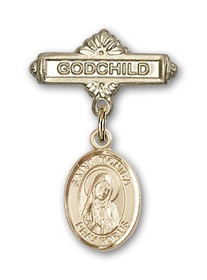 Pin Badge with St. Monica Charm and Godchild Badge Pin - 14K Solid Gold