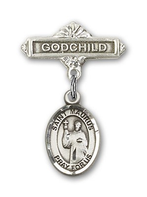 Pin Badge with St. Maurus Charm and Godchild Badge Pin - Silver tone