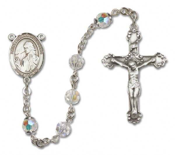 St. Finnian of Clonard Sterling Silver Heirloom Rosary Fancy Crucifix - Crystal