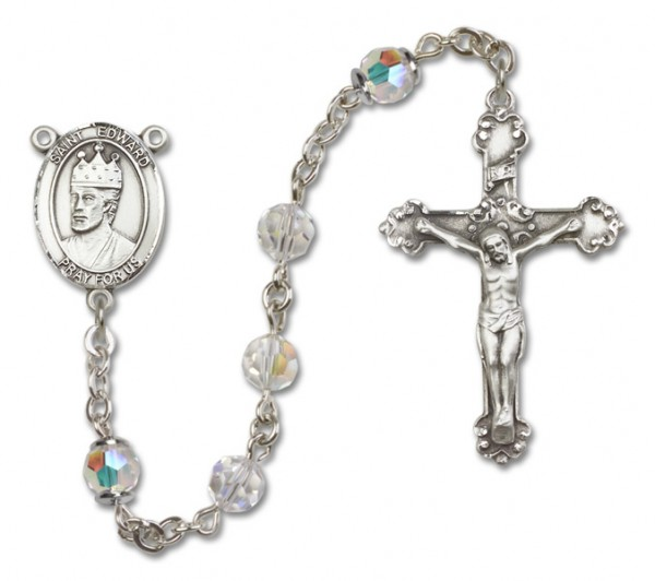 St. Edward the Confessor Sterling Silver Heirloom Rosary Fancy Crucifix - Crystal