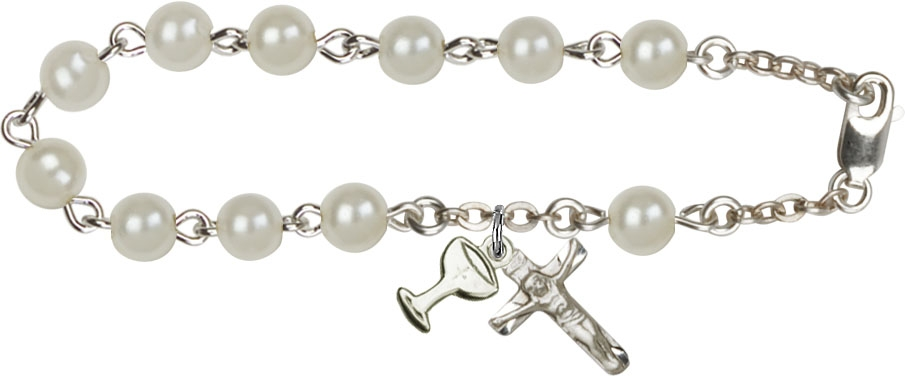 First Communion Faux Pearl Rosary Bracelet - White