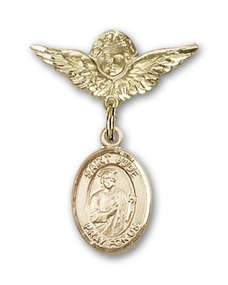 Pin Badge with St. Jude Thaddeus Charm and Angel with Smaller Wings Badge Pin - 14K Yellow Gold