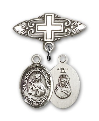 Pin Badge with Our Lady of Mount Carmel Charm and Badge Pin with Cross - Silver tone