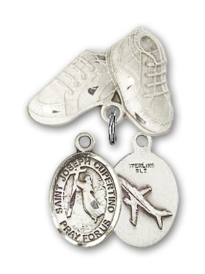 Pin Badge with St. Joseph of Cupertino Charm and Baby Boots Pin - Silver tone