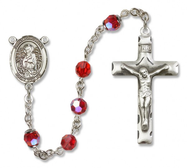 St. Christina the Astonishing Sterling Silver Heirloom Rosary Squared Crucifix - Ruby Red