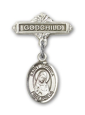 Pin Badge with St. Monica Charm and Godchild Badge Pin - Silver tone