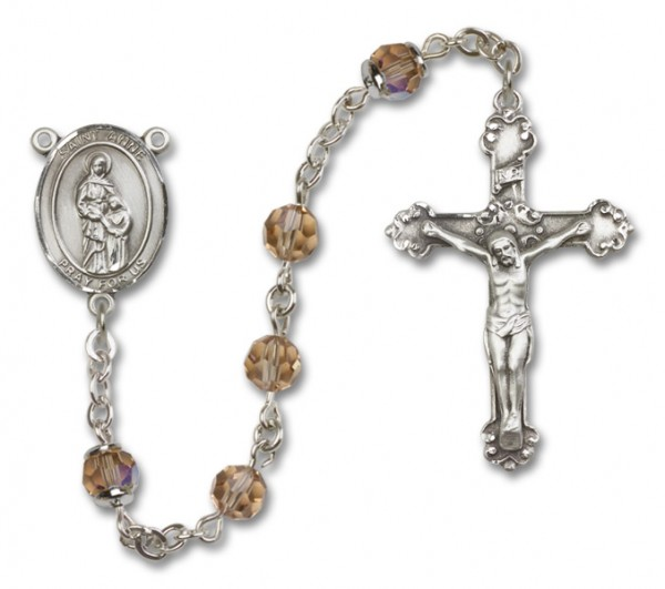 St. Anne Sterling Silver Heirloom Rosary Fancy Crucifix - Topaz