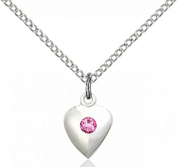 Baby Heart Pendant with Birthstone Options - Rose