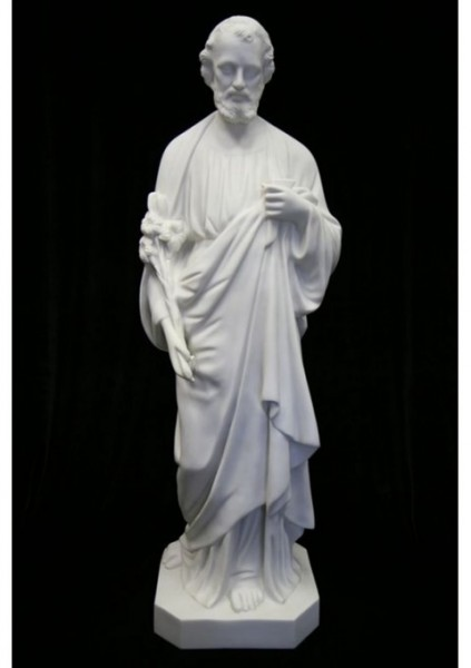 Saint Joseph the Worker Statue White Marble Composite - 40 inch - White