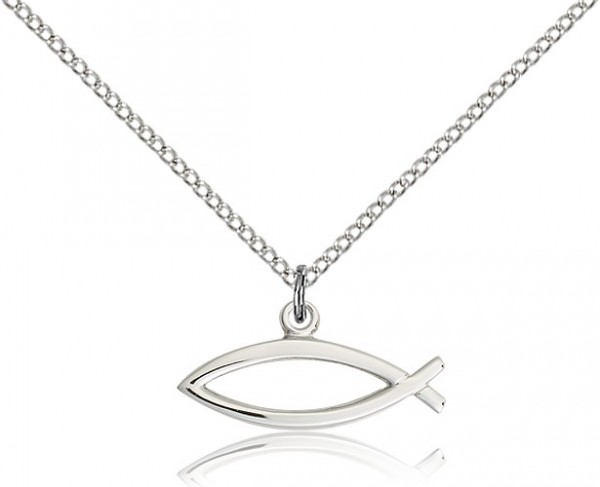 925 Sterling Silver Ichthus Fish Pendant Charm Necklace Religious Ichthu Fine Jewelry For Women Gifts For Her