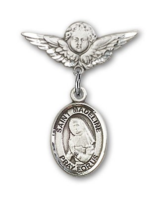 Pin Badge with St. Madeline Sophie Barat Charm and Angel with Smaller Wings Badge Pin - Silver tone