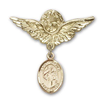 Pin Badge with St. Ursula Charm and Angel with Larger Wings Badge Pin - 14K Solid Gold
