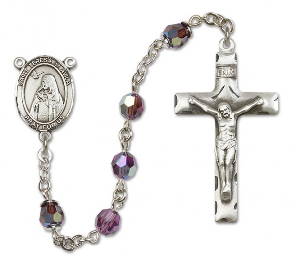 St. Teresa of Avila Sterling Silver Heirloom Rosary Squared Crucifix - Amethyst