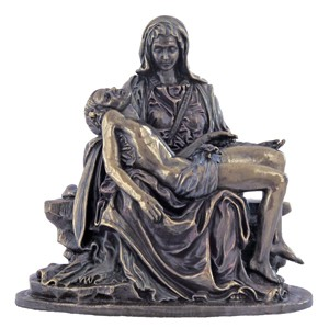 Bronzed Resin Pieta Statue - 5 Inches - Bronze