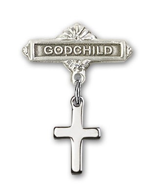 Baby Pin with Cross Charm and Godchild Badge Pin - Silver tone