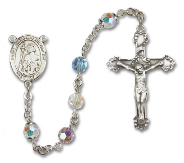 St. Adrian of Nicomedia Sterling Silver Heirloom Rosary Fancy Crucifix - Multi-Color
