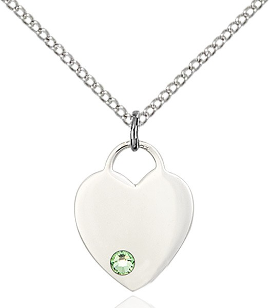 Small Heart Shaped Pendant with Birthstone Options - Peridot