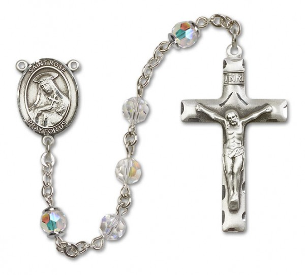 St. Rose of Lima Sterling Silver Heirloom Rosary Squared Crucifix - Crystal