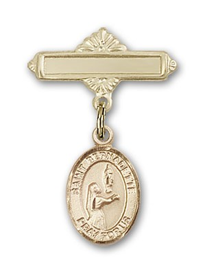 Pin Badge with St. Bernadette Charm and Polished Engravable Badge Pin - Gold Tone