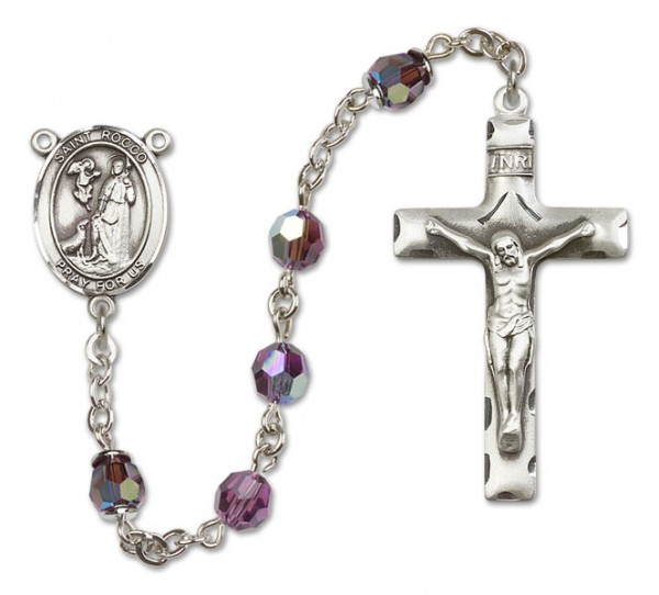St. Rocco Sterling Silver Heirloom Rosary Squared Crucifix - Amethyst