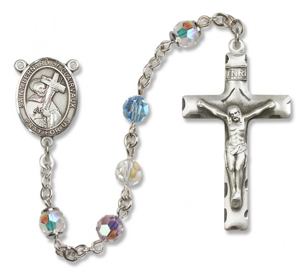St. Bernard of Clairvaux Sterling Silver Heirloom Rosary Squared Crucifix - Multi-Color
