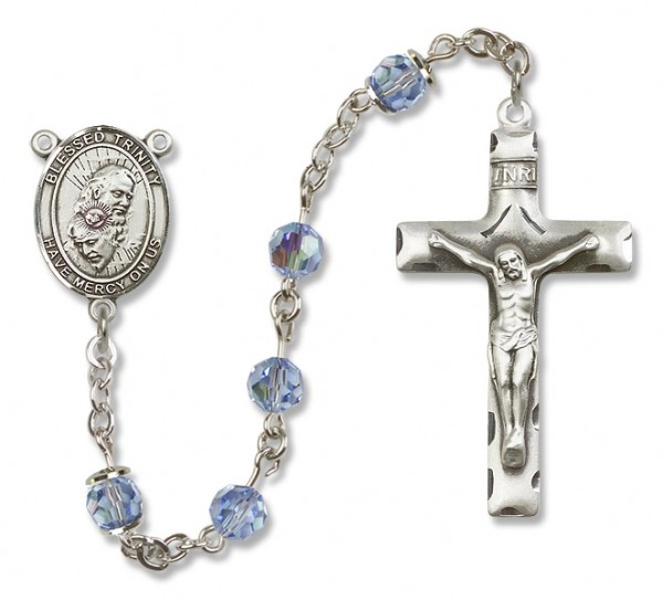 Blessed Trinity Sterling Silver Heirloom Rosary Squared Crucifix - Light Sapphire