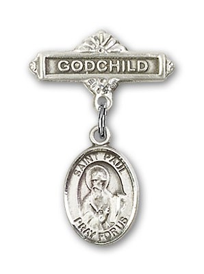 Pin Badge with St. Paul the Apostle Charm and Godchild Badge Pin - Silver tone