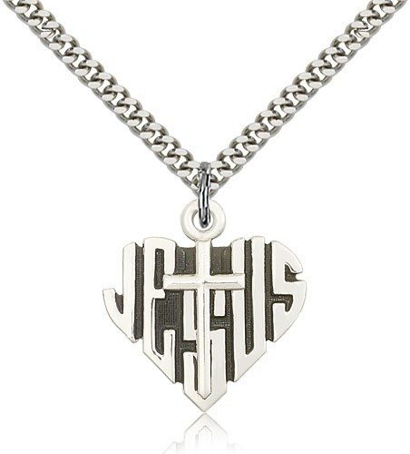 Heart of Jesus and Cross Pendant - Sterling Silver
