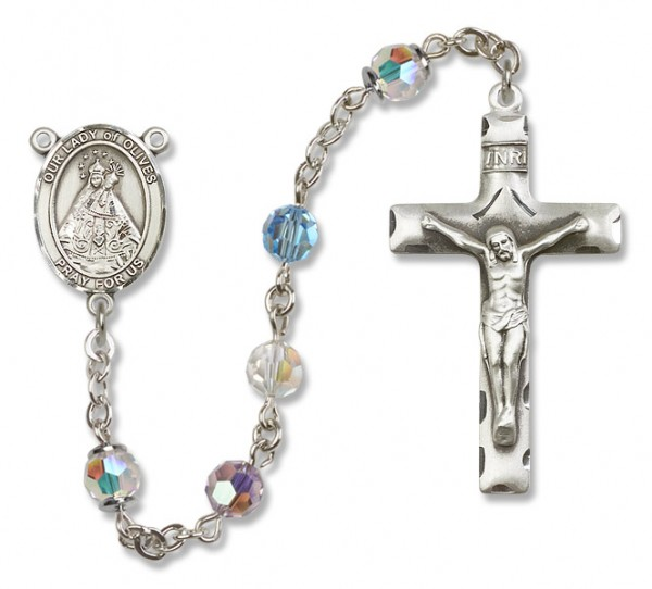Our Lady of Olives Rosary Heirloom Squared Crucifix - Multi-Color