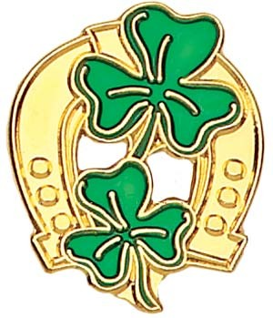 "Horseshoe and Shamrock Lapel Pin - 1"" - Green 