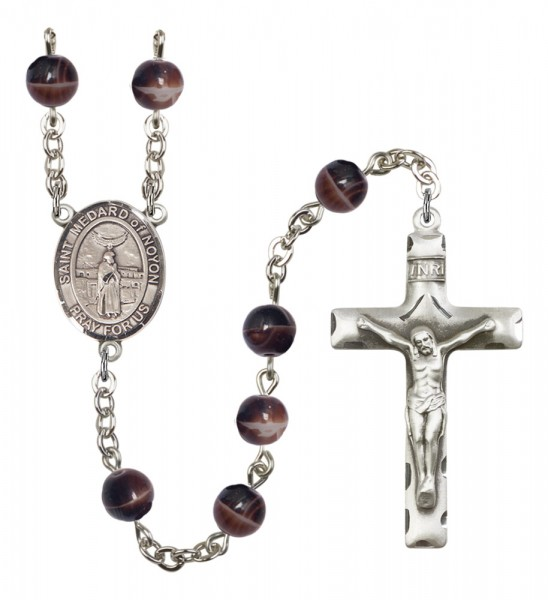 Men's St. Medard of Noyon Silver Plated Rosary - Brown