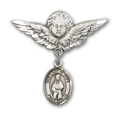 Pin Badge with Our Lady of Hope Charm and Angel with Larger Wings Badge Pin - Silver tone