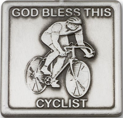 God Bless This Cyclist Visor Clip - Antique Silver