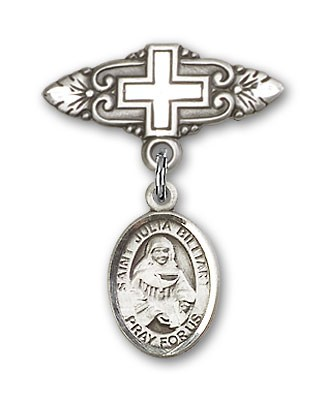 Pin Badge with St. Julia Billiart Charm and Badge Pin with Cross - Silver tone