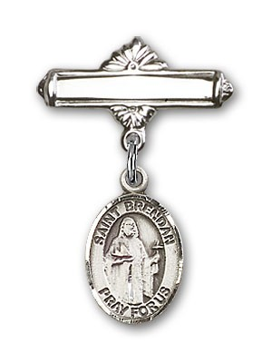 Pin Badge with St. Brendan the Navigator Charm and Polished Engravable Badge Pin - Silver tone