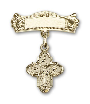 Pin Badge with 4-Way Charm and Arched Polished Engravable Badge Pin - 14K Solid Gold