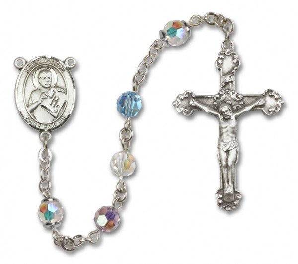 St. Viator of Bergamo Rosary Heirloom Fancy Crucifix - Multi-Color