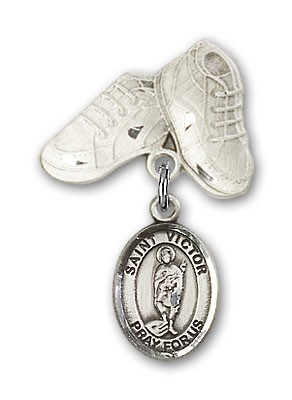 Pin Badge with St. Victor of Marseilles Charm and Baby Boots Pin - Silver tone