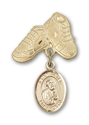 Pin Badge with St. Peter the Apostle Charm and Baby Boots Pin - 14K Yellow Gold