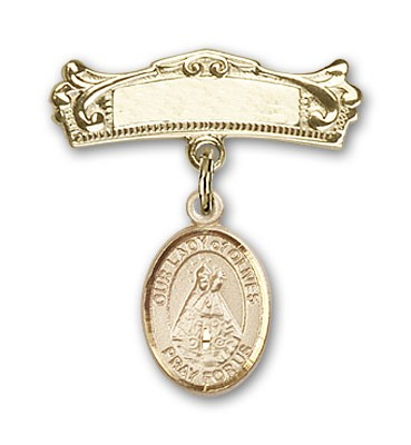 Pin Badge with Our Lady of Olives Charm and Arched Polished Engravable Badge Pin - 14K Solid Gold