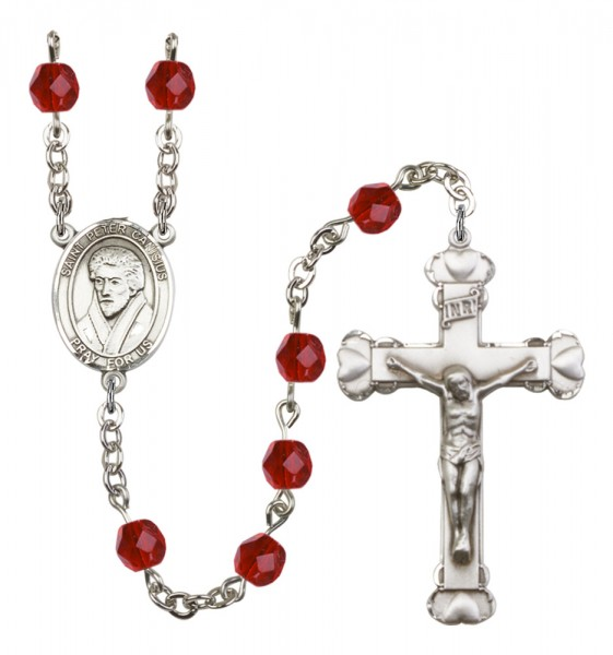 Women's St. Peter Canisius Birthstone Rosary - Ruby Red